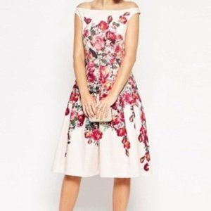 ASOS Vintage Floral Rose Bardot Fit Flare Dress